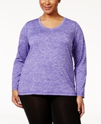 Ideology Plus Size Heathered Top Only At Macy's Blazing Purple