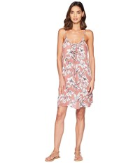 Roxy Softly Love Printed Dress Cover Up Withered Rose Lily House Swimwear Multi