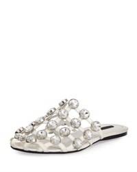 Alexander Wang Amelia Jewel Studded Leather Mule White