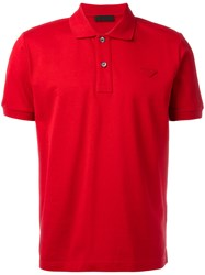 Prada Short Sleeve Polo Shirt Red