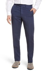 Monte Rosso Flat Front Solid Cotton And Linen Trousers Navy