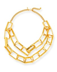 Kenneth Jay Lane Short Gold Plated Box Chain Necklace