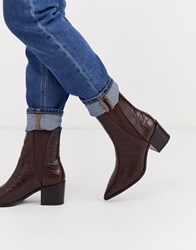 Pimkie Croc Ankle Boot In Burgundy Red