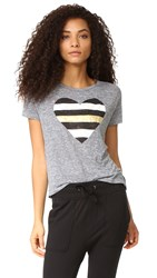 Sundry Stripe Heart Loose Tee Heather Grey