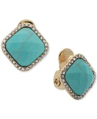 Anne Klein Gold Tone Square Stone And Crystal Clip On Stud Earrings Blue Green