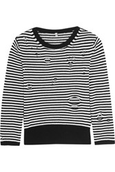 R 13 R13 Distressed Striped Cashmere Sweater Black