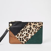 River Island Green Leather Blocked Clutch Bag