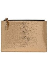 Iro Metallic Cracked Leather Pouch Gold