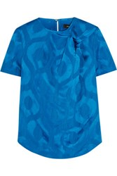 Isabel Marant Silway Knotted Satin Jacquard Blouse Bright Blue