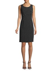Nipon Boutique Dotted Crepe Sheath Dress Black Vanilla Ice