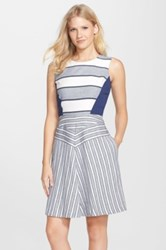 Nydj Mixed Stripe Fit And Flare Dress Blue