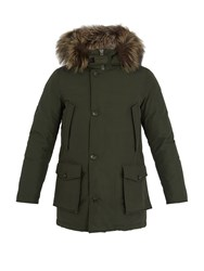 Woolrich Arctic Fox Fur Trimmed Down Parka Green