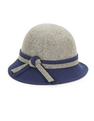 Giovannio Knot Accent Wool Cloche Grey Navy Blue