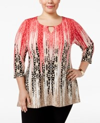 Jm Collection Plus Size Printed Keyhole Top Only At Macy's Ancient Tile