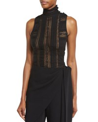 Cinq A Sept Antonia Sleeveless Turtleneck Lace Top Black
