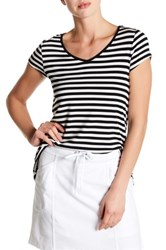 Cable And Gauge Lace Up Back Striped Tee Multi