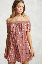 Forever 21 Off The Shoulder Flounce Dress Mauve Cream