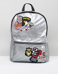 New Look Badge Backpack Silver
