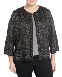 Ming Wang Studded Floral Knit Jacket Black