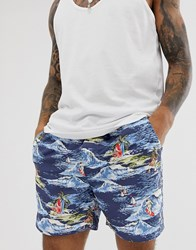French Connection Surfer Print Swim Shorts Blue