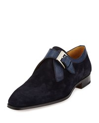Magnanni Embossed Trim Suede Slip On Loafer Azul