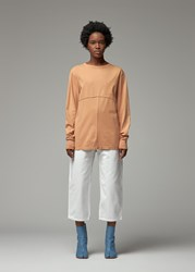 Eckhaus Latta 'S Lapped Long Sleeve Top In Apricot Size Xs 100 Cotton