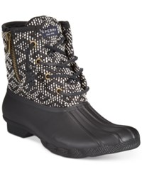 Sperry Women's Saltwater Duck Booties Women's Shoes Black White Tribal