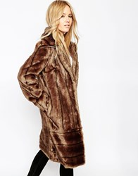 Asos Coat In Vintage Longline Pelted Faux Fur Brown