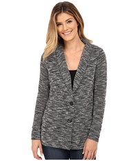 Bobeau Single Breasted Textured Jacket Grey Mix Women's Coat Gray