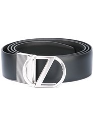 Z Zegna Logo Buckle Belt Black