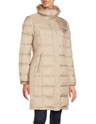 Cole Haan Faux Fur Trimmed Long Puffer Coat Sand