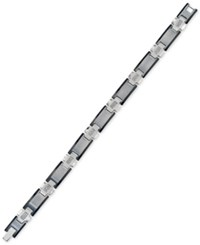 Esquire Men's Jewelry Diamond Link Bracelet 1 4 Ct. T.W. In Stainless Steel And Tungsten Silver