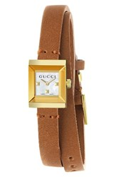 Gucci Women's G Frame Leather Wrap Strap Watch 14Mm X 18Mm Brown White Gold