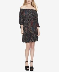 Jessica Simpson Juniors' Printed Tiered Off The Shoulder Dress Paisley Print