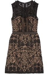 Marchesa Notte Embellished Guipure Lace Mini Dress Black