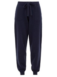 Allude Drawstring Waist Wool Blend Knitted Track Pants Navy