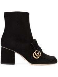 Gucci Gg Marmont Ankle Boot Women Leather Suede 36.5 Black