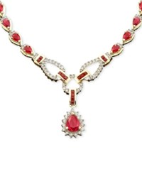 Macy's Sapphire 12 1 3 Ct. T.W. And Diamond 1 1 5 Ct. T.W. Toggle Necklace In 14K White Gold Red