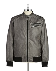 Guess Faux Leather Moto Jacket Grey