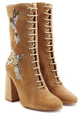 Red Valentino Embroidered Lace Up Suede Boots Brown