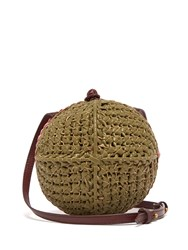 Sophie Anderson Ceina Woven Leather Cross Body Bag Khaki Multi