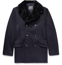 Private White V.C. Double Breasted Shearling Trimmed Melton Wool Coat Navy