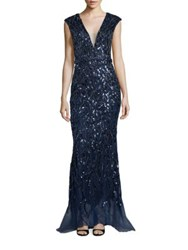 Jovani Evening Sequined Gown Navy