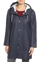 Stutterheim Women's Mosebacke Waterproof A Line Hooded Raincoat Navy