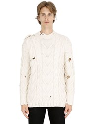 Palm Angels Destroyed Cotton Cable Knit Sweater