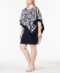 R And M Richards Plus Size Printed Capelet Dress Navy Ivory