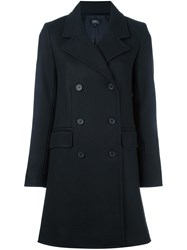 A.P.C. Double Breasted Coat Blue