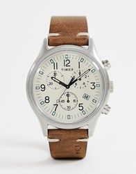 Timex Mk1 Steel Chronograph 42Mm Leather Watch In Brown