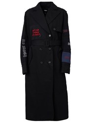 Yang Li Embroidered Detail Belted Double Breasted Coat Black
