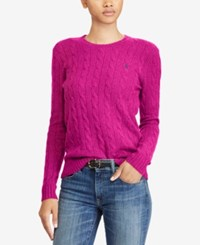Polo Ralph Lauren Cable Crew Neck Wool Cashmere Blend Sweater Vibrant Pink Heather